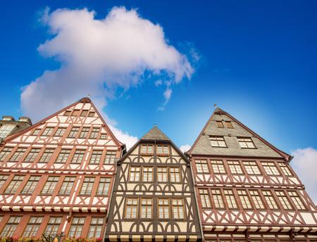 roemerberg: Ancient buildings of Roemerberg square - Frankfurt. Stock Photo