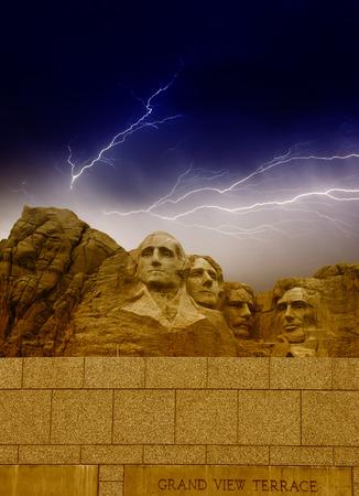 Storm above Mount Rushmore - South Dakota.