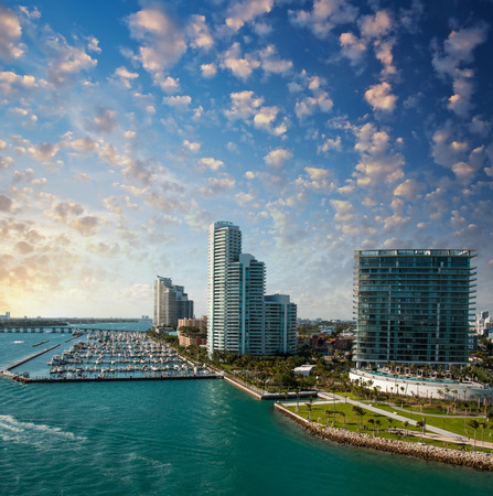 Skyline of Miami. Beautiful buildings near the ocean. photo