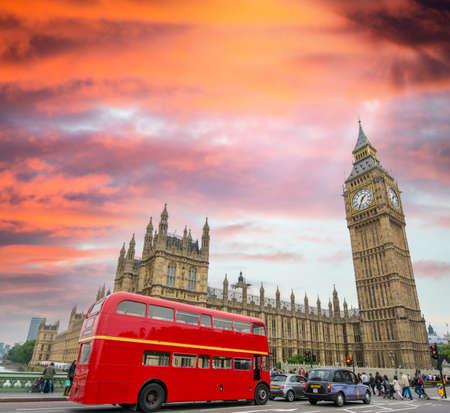 doubledecker: Red Double Decker Bus under Big Ben and Westminster Bridge.