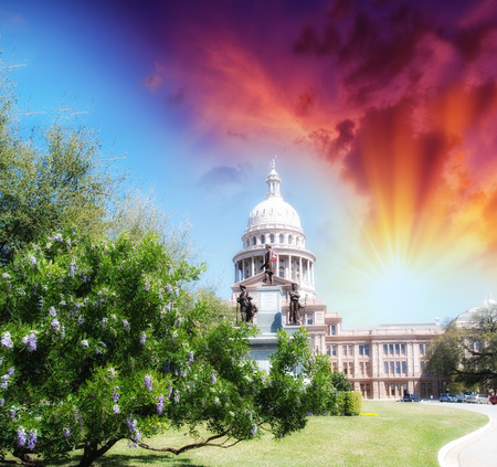 Austin, Texas. Beautiful view of Capitol with vegetation and surrounding parks.
