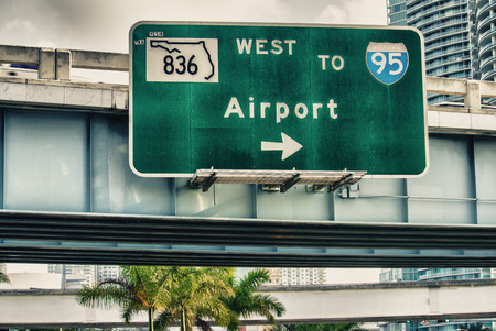 miami south beach: Airport directions. Interstate sign. Stock Photo