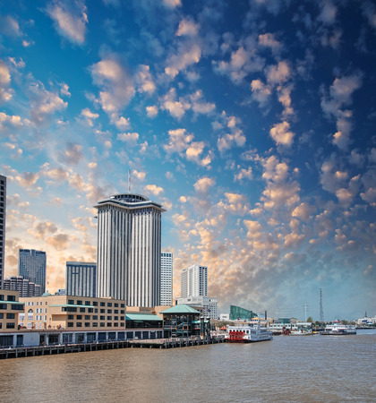 New Orleans skyline. City buildings on Mississippi river, Lousiana. photo