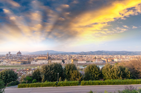 Florence cityscape. Aerial  panoramic view from Piazzale Michelangelo. photo