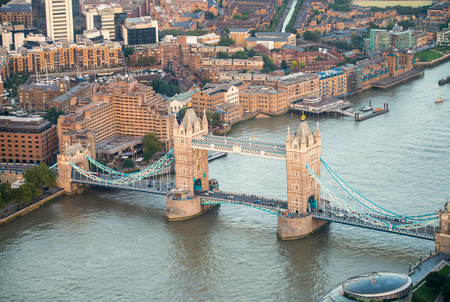 the magnificence: The Tower Bridge magnificence, aerial view of London. Stock Photo