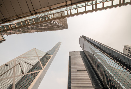 Group of Office Skyscrapers as seen from street level. Editorial