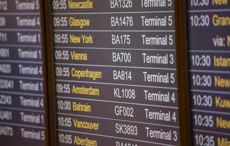 arrivals: Flight board - Destination airports. Stock Photo
