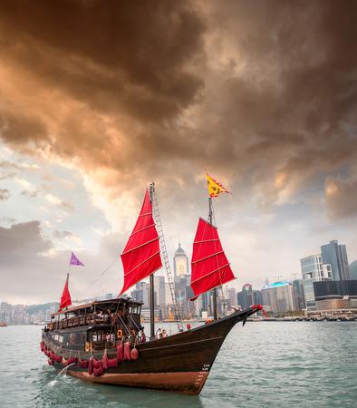 Aqua Luna sailing ship crossing the Hong Kong-Kowloon strait.
