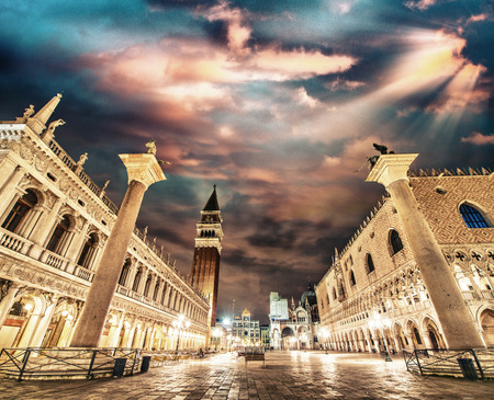 st mark's square: Piazza San Marco at sunset, Venice. St Mark Square lights.