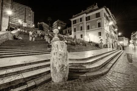 Tourists in famous Spanish Steps to Trinita dei Monti, Rome - Italy.