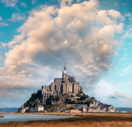 mont saint michel: Normandy, France. Sunset view of Mont Saint-Michel.