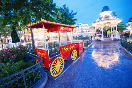 PARIS - JUNE 16, 2014: Popcorn train in Disneyland Park, Paris, France. Disneyland is the most visited attraction in all of France and Europe.