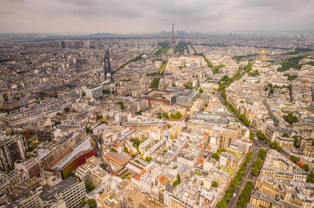 Buildings of Paris and Eiffel Tower aerial view. photo