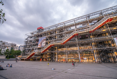 georges: PARIS, FRANCE - JUNE 14, 2014: facade of the Centre Georges Pompidou in Paris, France. The museum is the third most visited attraction in the city with about 5.5 million visitors per year