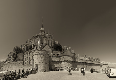 mount saint michael: Mont Saint Michel, Normandy - France. View of city walls and abbey from the external street.