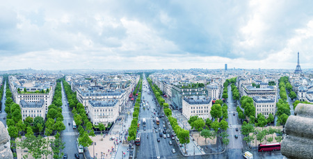 View of Paris southwestern side from Triumph Arc, City streets from Etoile roundabout. photo
