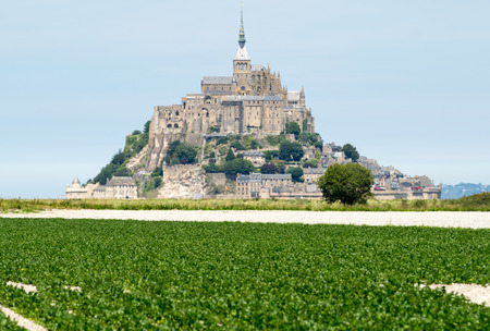 mont saint michel: Mont Saint Michel with surrounding countryside, France.