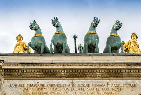 quadriga: Quadriga on the Arc de Triomphe du Carrousel,Paris. Editorial