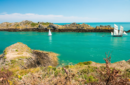 st malo: Beautiful coast of Brittany, France. Bretagne ocean between Cancale and St Malo.