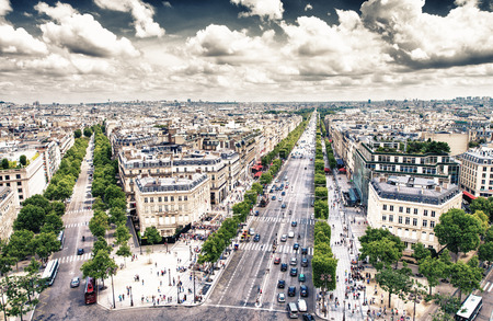 Paris. View of city streets at Etoile roundabout. Aerial panoramic from Triumph Arc. photo
