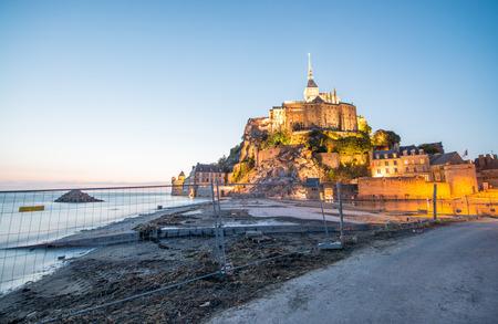 st michel: Wonderful view of Mont Saint Michel at summer night. Stock Photo