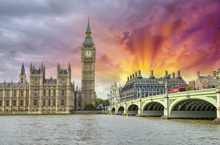 London. Beautiful view of Westminster Bridge and Houses of Parliament with Thames river. photo