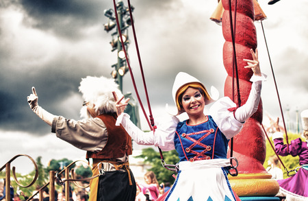 PARIS - JUNE 16, 2014: Disney Characters Parade in Disneyland Park, Paris, France. Disneyland is the most visited attraction in all of France and Europe.
