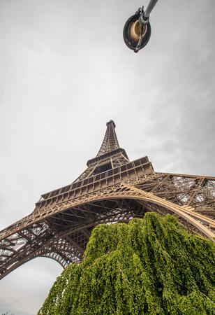 la tour eiffel: La Tour Eiffel in Paris surrounded by trees in summer. Stock Photo
