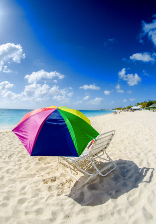 Colourful umbrella on a beautiful beach. photo