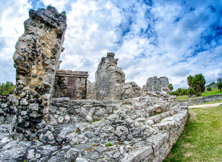 roo: Ruins of Tulum. Mayan site in Mexico. Stock Photo
