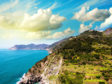 Beautiful Mountains and Sea of Cinque Terre in Spring Season, Italy. photo
