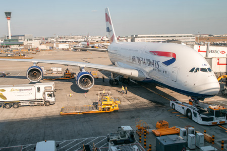 LONDON - APRIL 11, 2014: British Airways Airbus A380 in Heathrow airport. British Airways if the flag carrier airline of the United Kingdom, operating 256 aircrafts