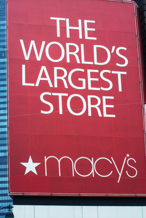 herald: MANHATTAN - JUN 14: In 1924, Macys Herald Sq. on 7th Ave. was Worlds Largest Store ( more than 1 million sq. ft of retail space). In 1858 Macys launched the red star logo. NYC June 14, 2013