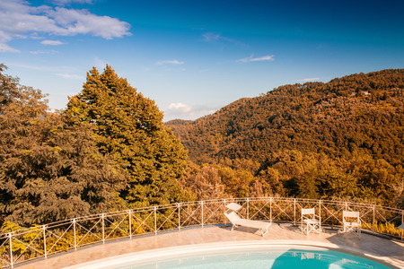 agriturismo: Pool over the campaign - Tuscany, Italy.