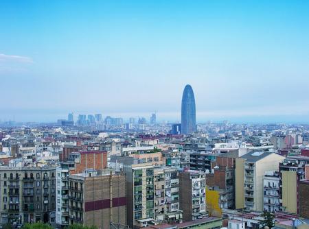 Barcelona, Spain. Wonderful aerial city view in spring season.