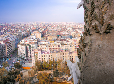 aerea: Barcelona, Spain. Wonderful aerial city view in spring season.