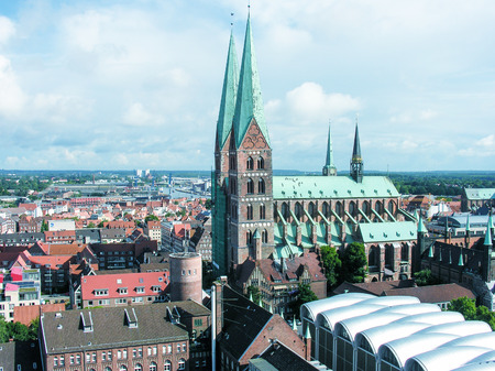 overnight stay: LUBECK, GERMANY - JUNE 30, 2007: City view on a beautiful summer day. More than 1 million visitors stay overnight every year.