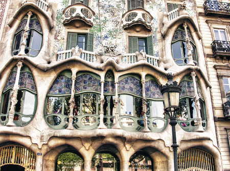 famous building: BARCELONA, SPAIN - MAY 24: Casa Batllo Facade. The famous building designed by Antoni Gaudi is one of the major touristic attractions in Barcelona. May 24, 2005 in Barcelona, Spain.