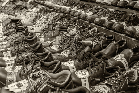 concession: HONG KONG, APRIL 10: Market sale of shoes on the sidewalk road in Sham Shui Po, on April 10, 2014. Government now stop provide any new certification for concession stand for image of the city.