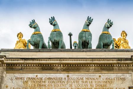 carrousel: Quadriga on the Arc de Triomphe du Carrousel,Paris. Stock Photo