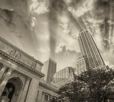 5th: New York Public Library and 5th avenue buildings. Stock Photo