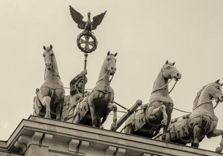 quadriga: Quadriga landmark over Brandenburger Tor, Berlin.