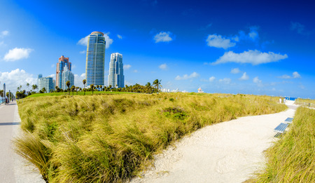 oceanfront: Miami, Florida. South Pointe Park and beautiful oceanfront. Stock Photo