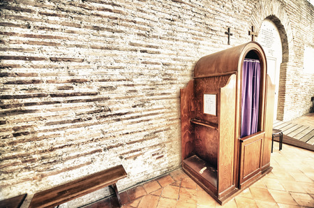 confession: Confession box inside an italian church.