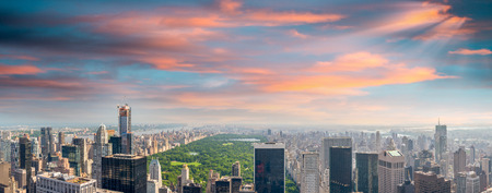 central square: New York. Manhattan at sunset with Central Park aerial view.