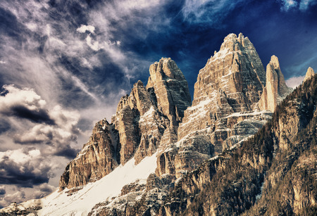Dolomites, Italy. Terrific view of Alps Mountains with colourful sky. Reklamní fotografie