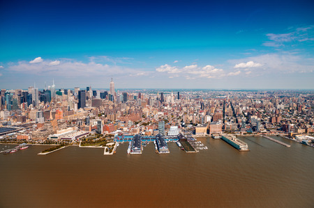hudson river: Wonderful helicopter view of Western Manhattan with Hudson river and skyscrapers - New York City. Stock Photo