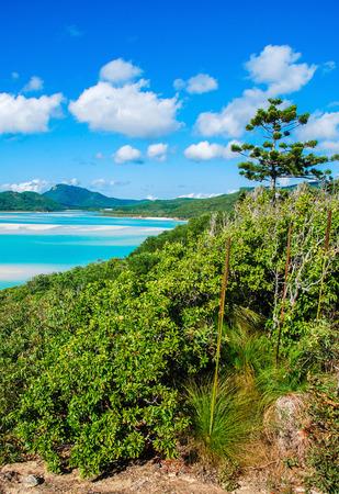 whitsundays: Stunning colors of Whitsundays Archipelago, Australia. Mountains over Whitehaven Beach in winter. Stock Photo