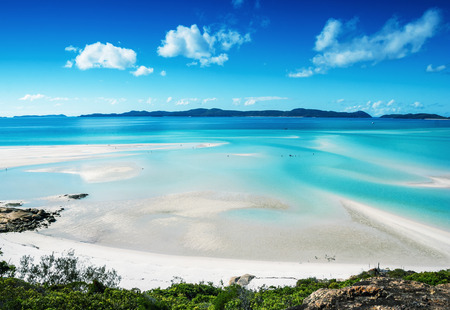 whitsunday: Wonderful beach of Queensland, aerial view. Stock Photo