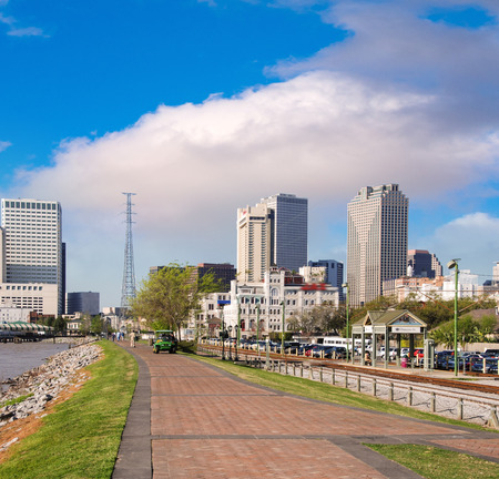 port jackson: New Orleans skyline with beautiful riverwalk at sunset. Stock Photo